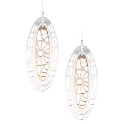 Sterling Essentials Two-tone 14k Rose Gold over Silver Oval Lace Earrings