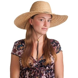 Braided Raffia and Leather Natural Sun Hat (China)