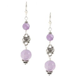 Charming Life Silvertone Cape Amethyst Dangle Earrings