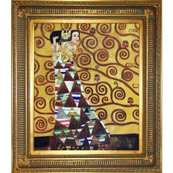 Klimt 'Expectation' Hand-painted Framed Canvas Art