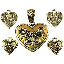 Modern Romance Metal and Enamel Hearts and Charms Pendants (Set of 5)