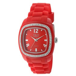 TKO Orlogi Women's Tivoli Crystal Accented Red Plastic Case and Rubber Strap Watch