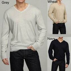 Oggi Moda Men's Linen-blend V-neck Pullover Sweater