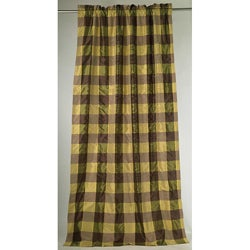 Pure Silk Taffeta Satin 96-inch Eggplant Check Curtain Panel (India)