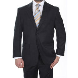 Ferrecci Men's Black Pinstripe 2-button Suit