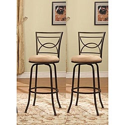 Bronze Finish Half Circle Back Adjustable Metal Swivel Counter Height Bar Stools (Set of 2)