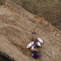 Rafia 14k Goldfill Amethyst and Lavender Keshi Pearls Necklace (6 mm)