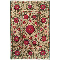 Nepalese Hand-knotted Beige Poppies Wool Rug (6' x 9')