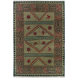 Nepalese Hand-knotted Olive Sundial Wool Rug (5' x 7')