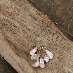 Rose Quartz and Keshi Pearl 14k Goldfill Necklace (6 mm)