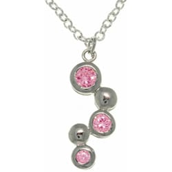 CGC Silvertone Pink Crystal Bubble Cubic Zirconia Necklace