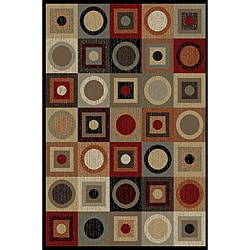 Ivory/ Multi Abstract Area Rug (7&#39;6 x 9&#39;10)