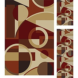 Multi Collection Set of 3 Area Rugs (1'8x2'8, 1'8x5', 5'x7')