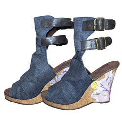 Muk Luks Women's Sun Luks Denim/ Watercolor Flower Wedge Peep Toes
