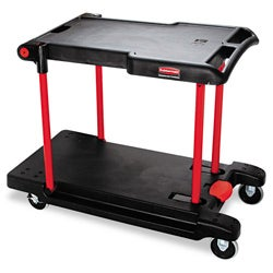 Rubbermaid 2-shelf Convertible Black Utility Cart