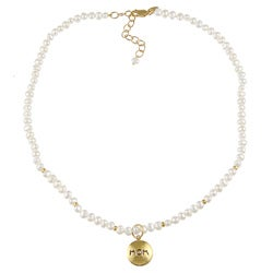 14k Gold over Sterling Silver Pearl Mom/ Love Charm Necklace (4-5 mm)