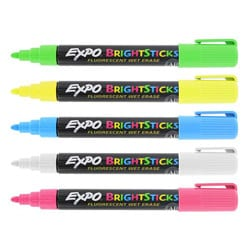 Expo Bright Sticks Bullet Tip Wet Erase Fluorescent Marker Set