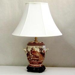 Brown Porcelain Peacock Silk Shade Lamp