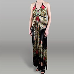 Magic Women's Pleated Halter Hi-lo Maxi Dress