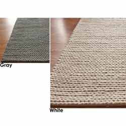 Handmade Braided Cable White New Zealand Wool Rug (9' x 12')