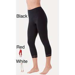 Ilusion Women's Ankle-length Lace Trim Leggings