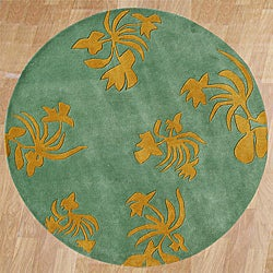 Alliyah Handmade New Zeeland Blend Green Wool Rug (6' Round)