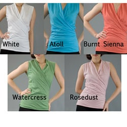 AtoZ Women's Cotton Sleeveless Wrap Top