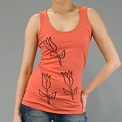 AtoZ Women's Cotton Tulip Graphic Tank Top