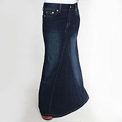 Tabeez Women's Cotton-blend Dark Blue Mermaid Denim Skirt
