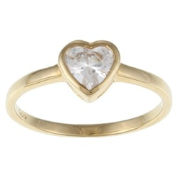 Sterling Essentials 14K Gold over Silver Cubic Zirconia Heart Ring