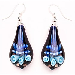 Murano-inspired Glass Blue and Black Teardrop Earrings