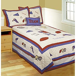 Team Victory Patchwork Cotton 4-piece Quilt Set
