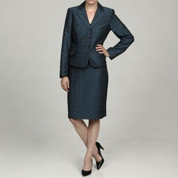 John Meyer Women's Marine Blue 3-button Skirt Suit