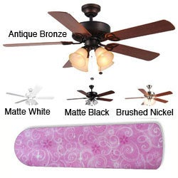 New Image Concepts 4-light Pink Sparkle Princess Blade Ceiling Fan