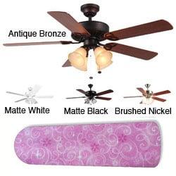 New Image Concepts 4-light Pink Sparkle Princess Blade Ceiling Fan