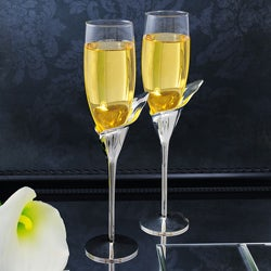 Calla Lily Champagne Flutes (Set of 2)