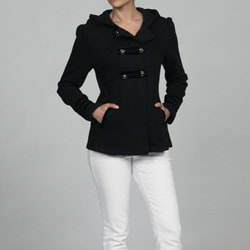 Sebby Collection Women's Black Fleece Military Pea Coat