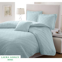 Laura Ashley Full/Queen-size Light Blue 3-piece Quilt Set