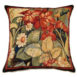 French Woven Tropical Floral Jacquard Decorative Pillow