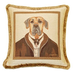 French Woven Sir Dog Jacquard Decorative Pillow