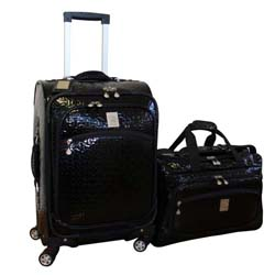 Jenni Chan Bows Black 2-piece Carry-on Spinner Luggage Set