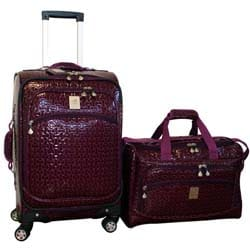 Jenni Chan Bows Purple 2-piece Carry-on Spinner Luggage Set