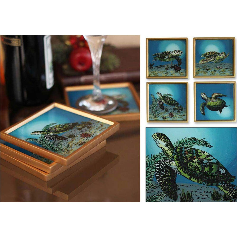 Set of 4 Painted Glass 'Sea Turtles' Coasters (Peru)