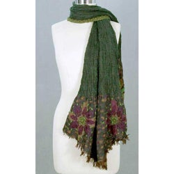 Wool 'Jade Blossoms' Scarf (India)