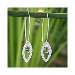 Sterling Silver Peridot 'Rose Petal' Floral Earrings (Thailand)