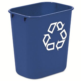 Rubbermaid Commercial 13.625qt Blue Plastic Small Deskside Recycling Container