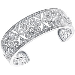 Sterling Silver 1/6ct TDW Diamond Ornate Cuff Bracelet (H-I, I3)