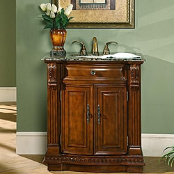 Silkroad Exclusive 33-inch Single Sink Cabinet Bathroom Vanity