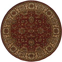 Hand-tufted Red/ Ivory Wool Area Rug (7'6 Round)