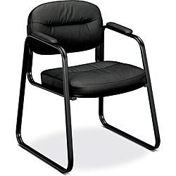 basyx by HON VL653 Black Leather Guest Side Chair